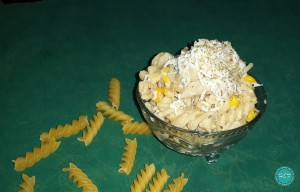 Spicy Chicken & Corn Pasta in White Sauce